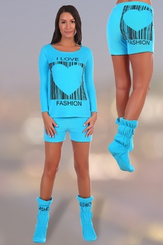 Махровый костюм: свитшот, шорты и сапожки Натали