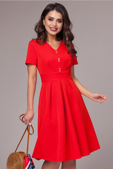 Красное платье с коротким рукавом CHARUTTI со скидкой