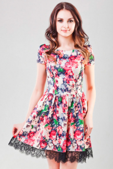 Розовое платье в мелкий цветочек Look Russian